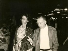 Soshana with Jean Paul Sartre   Paris 1958