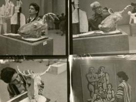Soshana in museum, contact prints   Paris 1956